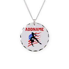 USA #1 GYMNAST Necklace Circle Charm