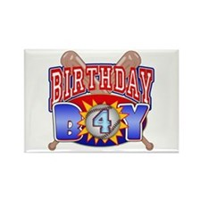 Baseball 4th Birthday Rectangle Magnet