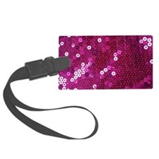 Pink Sequins Print Luggage Tag