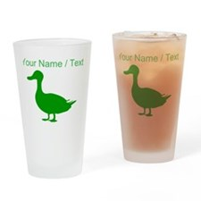 Custom Green Duck Silhouette Drinking Glass