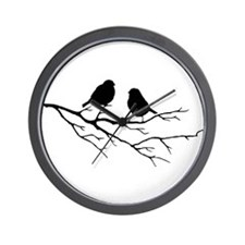 Two Little white Sparrow Birds Black silhouette Wa