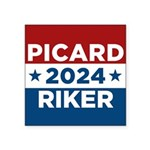 Star Trek Picard Riker 2016 Sticker - This funny election design is for fans of Star Trek The Next Generation. Vote Picard/Riker in 2016! - Availble Colors: White,Clear