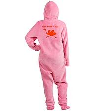 Custom Orange Ostrich Silhouette Footed Pajamas