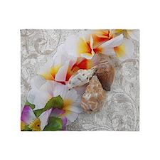 Floral Beach Shells Throw Blanket