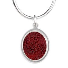 Red Embossed Leather-look Silver Oval Necklace