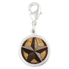 western country horseshoe texa Silver Round Charm