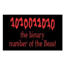 Binary Number of the Beast Rectangle Decal