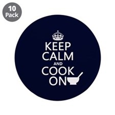 "Keep Calm and Cook On 3.5"" Button (10 pack)"