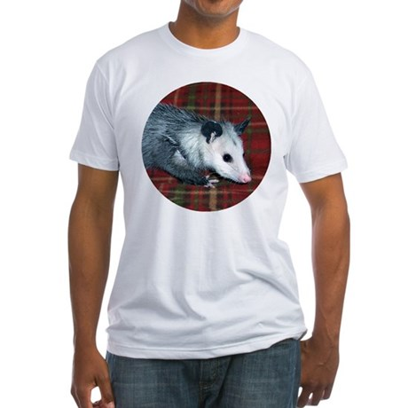 Possum on Plaid Fitted T-Shirt