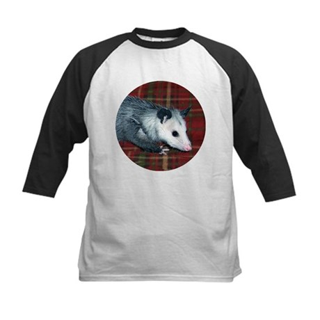 Possum on Plaid Kids Baseball Jersey