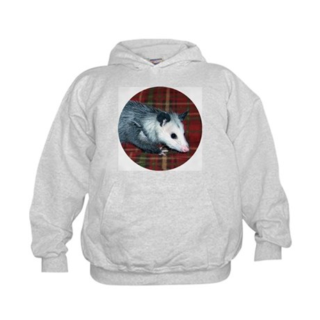 Possum on Plaid Kids Hoodie