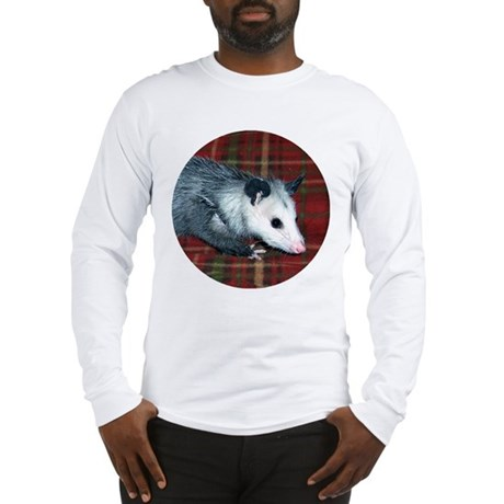 Possum on Plaid Long Sleeve T-Shirt