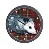 Possum on Plaid Wall Clock