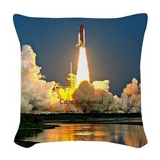 Cape Canaveral Launch Pad Woven Throw Pillow