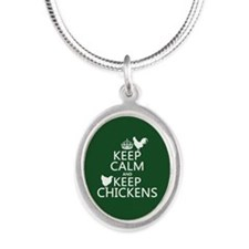 Keep Calm and Keep Chickens Silver Oval Necklace