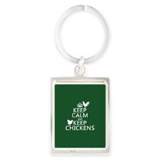 Keep Calm and Keep Chickens Portrait Keychain