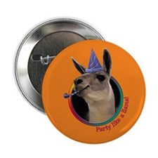 Llama Birthday Button