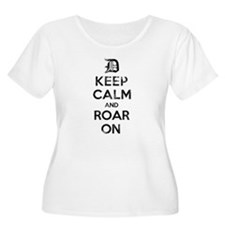 Detroit D Keep Calm and Roar On Plus Size T-Shirt