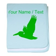 Custom Green Pelican Silhouette baby blanket
