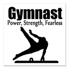 "AWESOME GYMNAST Square Car Magnet 3"" x 3"""