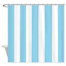 Light Blue and White Stripes Shower Curtain