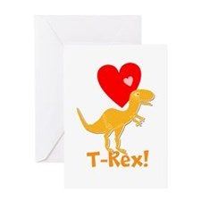 Cute Orange T-Rex Love Hearts with Name Greeting C