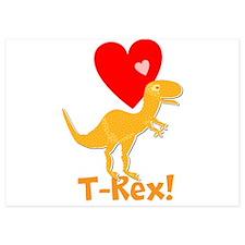 Cute Orange T-Rex Love Hearts with Name Invitation