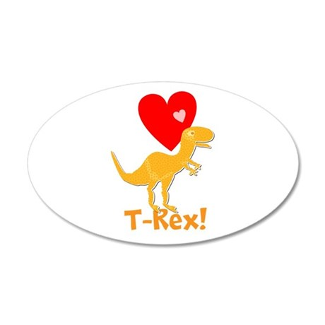 Cute Orange T-Rex Love Hearts with Name Wall Decal