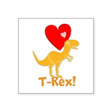 Cute Orange T-Rex Love Hearts with Name Sticker