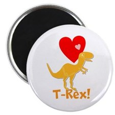 Cute Orange T-Rex Love Hearts with Name Magnets