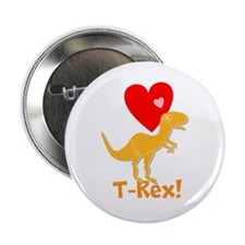 """Cute Orange T-Rex Love Hearts with Name 2.25"""" Butt"""