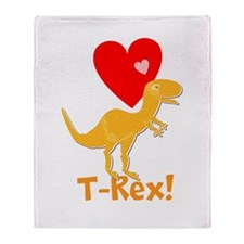 Cute Orange T-Rex Love Hearts with Name Throw Blan