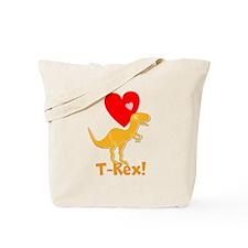 Cute Orange T-Rex Love Hearts with Name Tote Bag