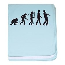 evolution of man clarinet player baby blanket