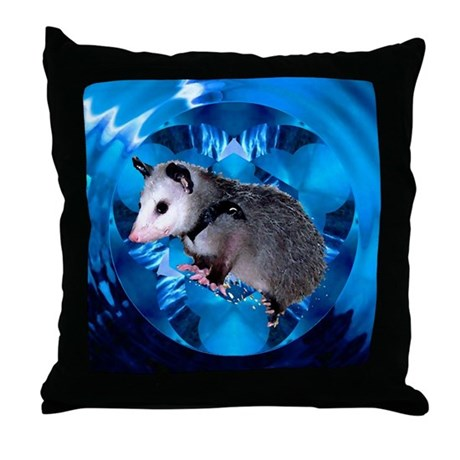 Baby Possum Kaleidoscope Throw Pillow