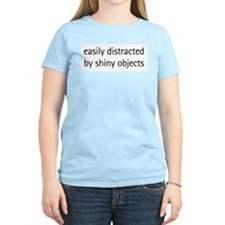 Easily Distracted by Shiny Ob Women's Pink T-Shirt