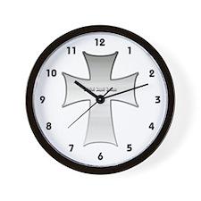 Silver Cross Wall Clock