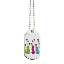 Whimsical Cats and Flowers Duvet Dog Tags