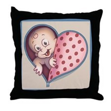Open Hearted Wombie Throw Pillow
