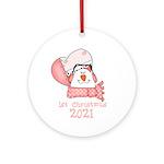 Snowman Heart 1st Christmas Ornament (round)