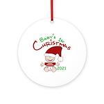 Stocking Cap 1st Christmas 2014 Ornament (round)