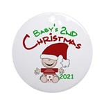 Stocking Cap 2nd Christmas 2014 Ornament (round)