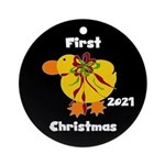 Yellow Ducky Baby's 1st Christmas Ornament (round)