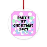 Retro Dots Baby's 1st 2014 Ornament (round)