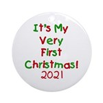 Red And Green First Christmas Ornament (round)