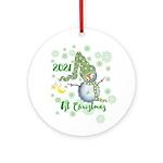 Winter Snowman 1st Christmas Ornament (round)
