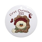 Snowman First Christmas 2014 Ornament (round)