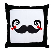 Mustache design with red bows Throw Pillow