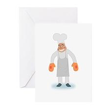Cartoon BBQ Chef Greeting Cards