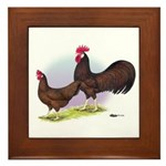 Red Leghorn Chickens Framed Tile